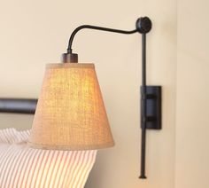 Adjustable wall sconce- get rid of those bedside table lamps! Bedside Lighting, Bedside Table Lamps, Bedroom Lighting, Sconces Living Room, My Living Room, Wall Sconces, Wall Lamps, Bedroom Sconces, Bedroom Wall