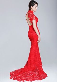 red lace mermaid backless cheongsam dresses long red lace evening ... ac7c025e601c