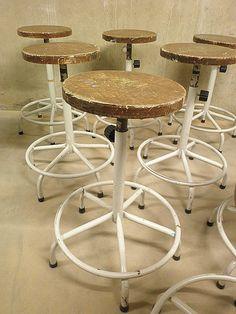 stoere kruk krukken vintage industrieel, industrial stool vintage