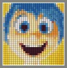 Joy - Inside Out perler bead pattern Pearler Bead Patterns, Perler Patterns, Stitching On Paper, Cross Stitching, Beading Patterns, Crochet Patterns, Perler Bead Disney, Pixel Drawing, Pixel Art Templates