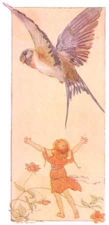 Illustration by Margaret Tarrant - Thumbelina releases the swallow after his recovery (Illustration from Fairy Stories from Hans Christian Andersen, by Hans Christian Anderson; Margaret Tarrant, illustrator. London: Ward, Lock & Co., 1910.)