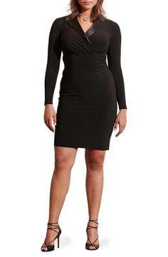 Lauren Ralph Lauren Silk Lapel Surplice Jersey Sheath Dress (Plus Size)