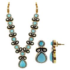 Gold Plated Blue and White Simulated Stones Indian Ethnic Earrings Necklace Set. The earrings measure is 18mm x 36mm. 16mm wide Necklace. The Length of the Neck