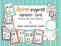 Update your classroom decor with this trendy aztec inspired alphabet set!  This includes cards with both manuscript & cursive letters, as well as a set of smaller alphabet cards for the word wall.