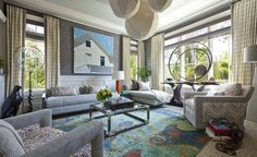 Thom Filicia's room at the house is a fantastic display of his new collection of fabric and furniture for Kravet, which coincidently also launched this summer. Best Interior, Interior Design, Interior Decorating, Eclectic Design, Decorating Tips, Thom Filicia, Apartment Living, Contemporary Design, Living Spaces