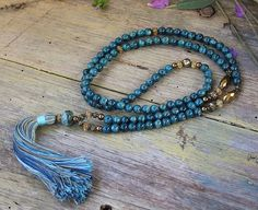 Beautiful apatite gemstone mala necklace by look4treasures on Etsy