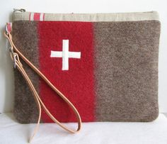 Swiss Army toiletry bag. Unique. Handmade from Vintage Swiss Army  Wool Blankets - Taupe Gray  Red Stripe  Swiss Cross. Great Gift for Guys  by Ecolution on Etsy Great Gifts For Guys, Gifts For Him, Guy Gifts, Red Cross, Swiss Army, Toiletry Bag, Wool Blanket, Handicraft, Fabric Crafts
