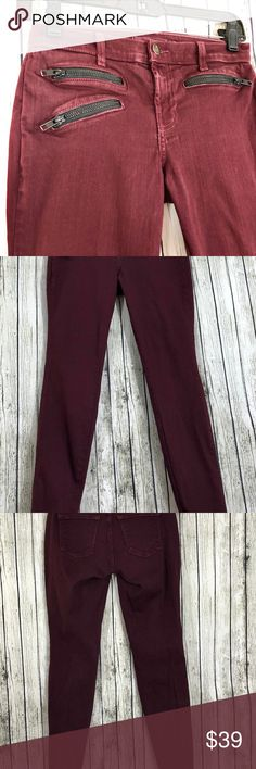 J Brand Zoey Triple Zip Skinny Jean Lava Size 25 Excellent gently used J Brand Zoey Triple Zip Skinny Jeans in Lava color, originally $224!  Size: 25 Material: 98% Cotton & 2% Elastane Inseam: Approx. 28 inches Waist: Approx.  13 inches J Brand Jeans Skinny