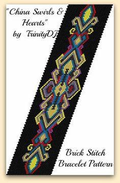 BP-BR-064 - China Swirls & Hearts - Brick Stitch Bracelet Pattern, seed bead jewelry, beadweaving tutorial, beaded bracelet, beadwork