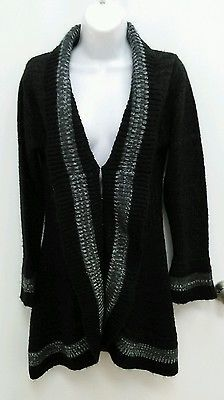 Brittany Black Petite Medium PM Black Gray Trim Cardigan Sweater B269