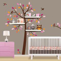 Vinyl Baum Wand Aufkleber Mit Regale Regal Regale Aufkleber Eule Vogel  Blume Startseite Baby Zimmer Wall