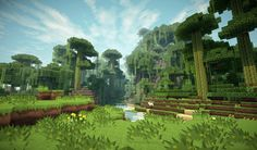 Minecraft Resorses offer the oppitunity to create sustainability by planting new trees and breeding animals. Hd Minecraft, Minecraft Wallpaper, Eco Game, Minecraft Cottage, Modern Skyscrapers, Intro Youtube, Minecraft Construction, Fantasy Landscape, Rafting