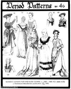 German Renaissance Gowns 1500 1545 ERA Period Patterns Sewing Pattern 46 SCA   eBay