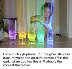 You can also pour the liquid from glow sticks into bubbles. The bubbles will glow in the dark. Kids love it!