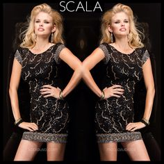 "Go out on the town in a look that says, ""Don't worry, I'm on the list."" #SCALA style 48351 Black/Silver/Gold. #FallHoliday2014 www.scalausa.com"