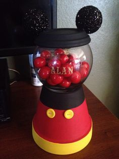 Tutorial LINK in the COMMENT section!! DIY Mickey Mouse gumball machine for under &10!!! http://lipstickvida.blogspot.com/2015/08/diy-mickey-mouse-gumball-machine-under.html