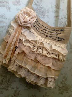 Rustic style bag with lace ruffles and handmade rose