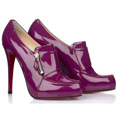Christian Louboutin Lapono Patent 120mm Ankle Boots Magenta