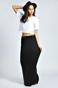 Vivian Viscose Jersey Belted Maxi Skirt at boohoo.com