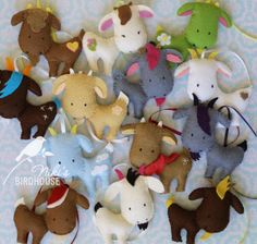 One of my favourite projects: 13 felt goats, all unique. I made them for a customer as Xmas gifts.