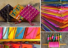 backdrop for Mehndi: Hang the string from one end to the other in a pattern and hang kites at various intervals. So simple, so effective