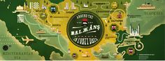 Around the Balkans in Forty Days is a neat illustration designed by french illustrator Alexandre Cartographik.