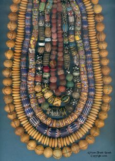 African Trade Beads |  7 strands of Antique Venetian beads ~ dated from 1800 onwards; including from the outside working in, king beads, Venetian disks, chevron beads and then four strands of mixed fancy beads.