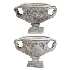 Pair of English Lead Warwick Castle Urns, After the Antique, Second Half 18th Century #michaans #auctions https://www.michaans.com/highlights/2017/highlights_12082017.php