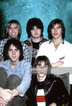 Scottish rock band 'The Bay City Rollers' pose for a portrait in December 1978 in Los Angeles, California. (L-R back) Derek Longmuir, Eric Faulkner and Alan Longmuir, (L-R front) Stuart 'Woody' Wood and Duncan Faure.