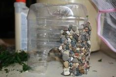Easy DIY Stone Veneer for Fairy Garden Houses Great idea adhere pebbles to water bottle cut to size