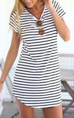Black White V Neck Striped Slim Dress Mobile Site