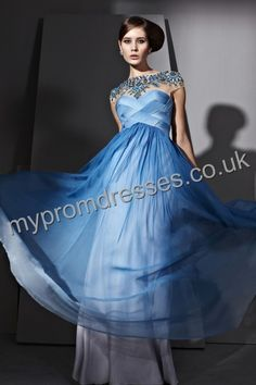 Floor Length Square Gray Chiffon A-line Evening Dress  http://www.mypromdresses.co.uk