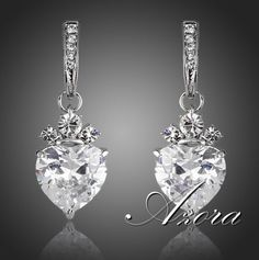 AZORA Rhodium Plated Heart Clear Shape Drop #earrings with Swiss Cubic Zirconia + FREE SHIPPING WORLDWIDE