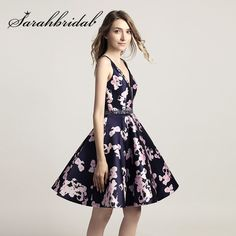 Cheap Short Prom Dresses Sexy V Neck Fashion Floral Print Mini Party  Cocktail Gowns Backless A