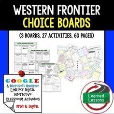 US History Western Expansion Choice Boards & Activities with Google Link