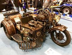 "steampunktendencies: "" 59 KMZ steampunk bike at Hot Rod & Rock Show "" when i see only 209 notes on this kind of post… i'm really thinking to. Chat Steampunk, Steampunk Motorcycle, Design Steampunk, Steampunk Artwork, Style Steampunk, Steampunk Gadgets, Steampunk Costume, Gothic Steampunk, Steampunk Fashion"