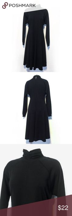 Black Turtleneck Thick Knit Flowing Dress SZ 10 Gorgeous classic! The soft thick material lends to the classic look. Full Hem line adds the sway to this beauty. Would look great with a pair of boots!  One of those dresses that is sure to be a fav. In EUC. Enjoy! Liz Claiborne Dresses