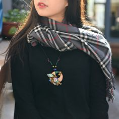 Handmade jewelry sweater necklace long rope chain wood round shell and bronze alloy flower pendant ethnic