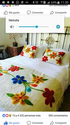 Table Bed runner embroidered Peru Off White Alpaca wool handmade flowers… Embroidery Stitches, Embroidery Patterns, Hand Embroidery, Bed Covers, Cushion Covers, Mexican Embroidery, Floral Bedding, Bed Runner, Rug Hooking