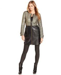 Rachel Rachel Roy Boucle Faux-Leather Coat from Macy's -- On Sale for $139
