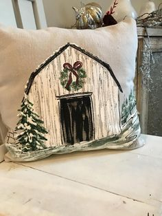 Old Barn Painting Christmas Wreath Farmhouse Christmas Decor Country Christmas Personalized Hand Painted Pillow Cover Silver Christmas Decorations, Christmas Mantels, Noel Christmas, Christmas Pillow, Christmas Wreaths, Christmas Crafts, Christmas Ornaments, Christmas Canvas, Etsy Christmas