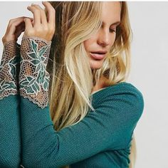 Free People Bali Babe Cuff Thermal FP Bali Babe Cuff thermal in teal! NWT never worn! Such a cute top! Free People Tops Tees - Long Sleeve