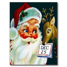 Shop Vintage Santa Claus & Reindeer Christmas Postcard created by AVintageLife. Personalize it with photos & text or purchase as is! Vintage Ephemera, Vintage Greeting Cards, Christmas Greeting Cards, Christmas Greetings, Christmas Postcards, Vintage Illustration, Illustration Noel, Christmas Illustration, Illustrations
