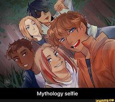 Mythology selfie by Slenderfur - Carter Kane, Magnus Chase, Percy Jackson, Sadie Kane and Lester Papadopoulos << THIS!!