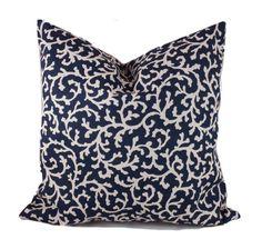 Navy blue outdoor pillow 18x18 Blue outdoor pillow by PillowCorner