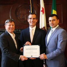 Kiwanis Entertainment Industry Group-Los Angeles Presenting Honorary Membership to Los Angeles Mayor Eric Garcetti. Picture left to right.  Kiwanis entertainment industry Group-Los Secretary; Carson Schreiber, Los Angeles Mayor; Eric Garcetti, Kiwanis entertainment industry Group-Los President; Zaven Pogosyan #Zaven #Pogosyan #Carson #Schreiber