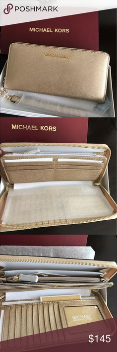 Michael Kors Jet Set Travel Wallet Pale Gold New with tag in original box Michael Kors Jet Set Travel Continental Leather Wallet Pale Gold. MSRP $168 + TAX     100% Authentic Guarantee. I purcahes High Department Store NOT Outlet Store. Pet/ Smoke Free Home! Thank you for your interest💐 Michael Kors Bags Wallets