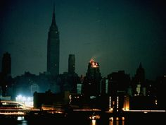 New York City during a massive blackout as seen from Long Island City on November 9, 1965. The buildings with lights have emergency power generators. Nearly 30 million in the Northeast were left without power for 13 hours following a series of errors that led to the blackout.
