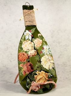 CREATIVE BOTTLE  #glass #fusing techniques Bottle is made of glass and painted by author. Fine work from glass in fusing technique is one of the best gift ideas to your darli... #decor #figurine #art #bottles