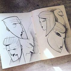 Head studies #sketch #sketchbook #draw #drawing #illustration #studies #head #face #handmade #blackandwhite #pencil #studio #character #characterdesign